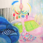 「グータラな素敵空間」 2014 1120×1455mm 紙に水彩、アクリル、色鉛筆