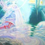 「満月の夜、遊ぶ」 2015 1303×970mm キャンバスに油彩