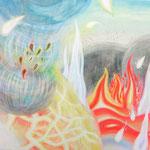 「燃え上がる魂」 2013 606×727mm 紙に水彩、アクリル、色鉛筆