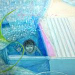 「お風呂の底から見えたもの」 2011 1120×1455mm 紙に水彩、アクリル