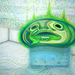 「Wet monster takes the bath」 2009 1121×1455mm キャンバスに油彩