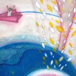 「紙ヒコーキにのって」 2009 841×594mm 紙に水彩、アクリル