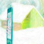 drawing 「雪に埋もれたパン屋さん」 大雪の日に見かけました。