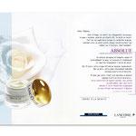 """Lancôme, Invitation """"Absolue"""". Dépliant, double page"""