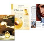 """Lancôme, """"Le Magazine"""". Plaquette, double page"""