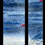 """la maquette du vitrail """"pénitence"""". Atelier Théophile.Philippe Brissy. Saumur"""