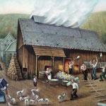 Die alte Dorfglashütte in Lauscha, Thüringen: Glasmacher bei der Produktion, links eine Frau mit Korb, in dem sich die fertigen Produkte befinden; dahinter Ochsen, mit denen die Fuhrleute, die Ware zum Verleger oder direkt zum Verbraucher schafften.