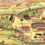 Die Saigerhütte von Ludwigstadt in einer Darstellung von 1588. Auf dem Gelände ist überall Holz gelagert, das für die Schmelze verwendet wurde. In der Mitte ist die eigentliche Schmelzhütte an den rauchenden Schornsteinen zu erkennen.