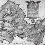 """Das brandenburgische Amt Lauenstein 1773, Süden ist oben. Links in der Mitte ist """"Luthwigstat"""" zu sehen, heute Ludwigsstadt geschrieben. Mit dem schwarz-weißen Wappen der Hohenzollern waren auch die Grenzsteine des Amtbereiches markiert."""