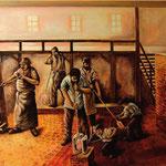 Glasherstellung im Wandel der Zeit: Wandbilder im Eingangsbereich des europäischen Flakonmuseums in Kleintettau: Mundglashütte um 1770. Ein Junge bringt Bier für die Glasbläser zum Feuchtigkeitsausgleich und als Nährmittel.
