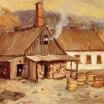 Hölzerne Dorfglashütte in Kleintettau im Zustand nach 1661. Zu sehen sind der Holzvorrat und transportbereite Fässer, in denen sich verpackte Glaswaren befinden; im Hintergrund der Frankenwald, der Rohstoff- und Energiequelle für die Glasherstellung war.