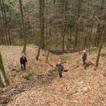 Sogenannte Lassen sind Rinnen, zu denen das Holz mit Tieren herbeigeschleppt wurde, um dann zu Tal in die Bäche getrieben zu werden.