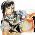 十六歳 油彩 クレヨン 455×380 ジェッソ