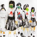 女学生 油彩 クレヨン 1,620mm×1,300mm ヴァニラ画廊蔵