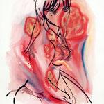 ゆい(口内炎中) 油彩 クレヨン ジェッソ 606×500