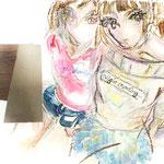 『night crawling』 キャンバスにアクリル、油彩、クレヨン 333×242