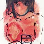 あやか(口内炎中)油彩 クレヨン ジェッソ 333×242