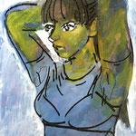 『Armpit sweat ー髪を結ぶー』 キャンバスにアクリル、油彩、ペン 333×242