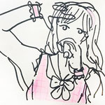 「Armpit sweat -idol Miu-」A4 画用紙にペン、水彩