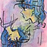 『↑↓』 キャンバスにアクリル、油彩、ペン。スクリーントーン 273×220
