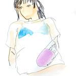 「Tシャツ案 1」A3 画用紙に水彩、ペン