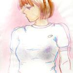 「Tシャツ案 2」A3 画用紙に水彩、ペン