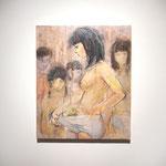 「確認」 2018  45.5×37.9  キャンバスに油彩、クレヨン、鉛筆 個人蔵