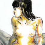 成人 油彩 クレヨン ジェッソ 410×410 個人蔵