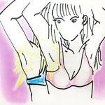 「Armpit sweat -グラビアアイドル-」B4 画用紙にクレヨン、水彩