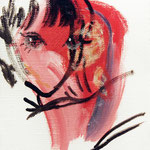 それぞれ口内炎中 油彩 クレヨン ジェッソ 180×140 個人蔵