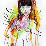 自画像(希望的観測) 2013 油彩 クレヨン 410×318      個人蔵