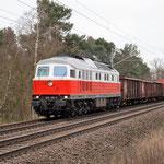 Selten kommt ein Güterzug mit Diesel auf diesen Streckenabschnitt – 232 105 nach Seddin Bad Belzig km 62,8 am 18.03.2016