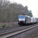 ITL mit einen Containerzug – ES 64 F4-289 km 61,0 am 12.02.2011