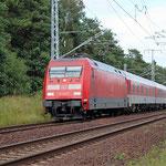 Ich habe den Bahnsteig verlassen und bin an km 33,4. 101 129 kommt aus Berlin am 14.08.2009