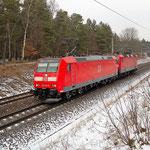 AW Probefahrt - 146 126 und 143 009 Bad Belzig km 62,0 am 13.02.2013