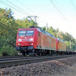 145 027 und 029 befördern gemeinsam ihren Zug Richtung Wiesenburg am 08.08.2008. Das Bild wurde an km 67,0 aufgenommen.