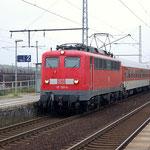 Am 02.10.2007 fuhr 115 159 von DB Autozug nach Berlin durch Seddin