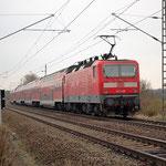 143 360 schiebt RE7 am 09.11.2012 in Richtung Bad Belzig – Brück km 49,6
