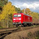 Die Birken bekommen ihre Herbstfärbung. 145 025ereicht km 68,2 und kommt in den Bereich der ehemaligen Blockstelle Bergholz – 19.10.2007