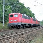 Ein Lokzug an km 66,4 am 11.09.2007 – 140 681, 140 172, 140 169 + 140 569
