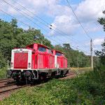 714 009 und 004 von DB Netz in Richtung Berlin am 11.08.2014 – km 60,8