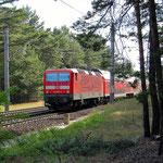 143 567 schiebt Re7 Richtung Berlin am 26.06.2008 – Gömnigk lm 55,8