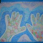 Unsere Hände - Detailzeichnung aus der 4b - Klasse