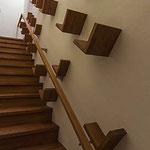 階段の壁にはお気に入りの書籍を飾れる棚を。