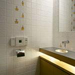 トイレのタイルも、入念に選択された。