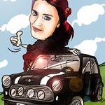 Caricaturas personalizadas online de fotografías: caricatura individual + vehículo por 25€ a todo color