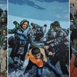 Flüchtlinge • 2016 • Triptychon • Öl auf Leinwand • 150 x 360