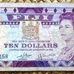 Islas Fiji 10 dollars 1980 (156x67mm) pk.79a anverso
