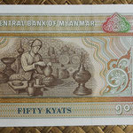 Myanmar 50 kyats 1997 (146x70mm) pk.73b reverso