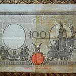 Italia 100 liras 1942 pk.59 reverso